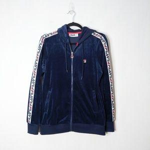 Fila Velour Track Jacket Hoodie Sweatshirt